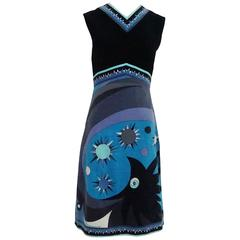 Emilio Pucci Navy & Blue Velvet Sleeveless Printed Dress - 10 - 1960's