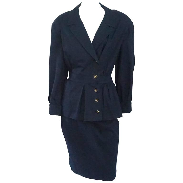 Chanel Navy Cotton Skirt Suit with Cinched Waist - 38 - 1980's