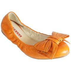 Prada Orange Leather Ballet Flats with Bows - 35