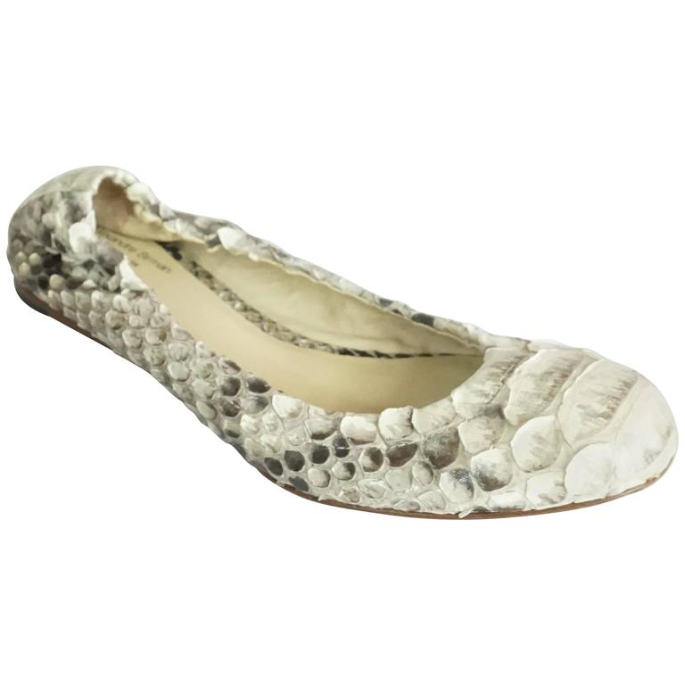 Alexandre Birman Ivory and Gray Python Flats - 36 For Sale