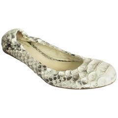 Alexandre Birman Ivory and Gray Python Flats - 36