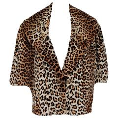 1950's Luxurious Leopard-Print Mouton Wide Portrait-Collar Cropped Bolero Cape
