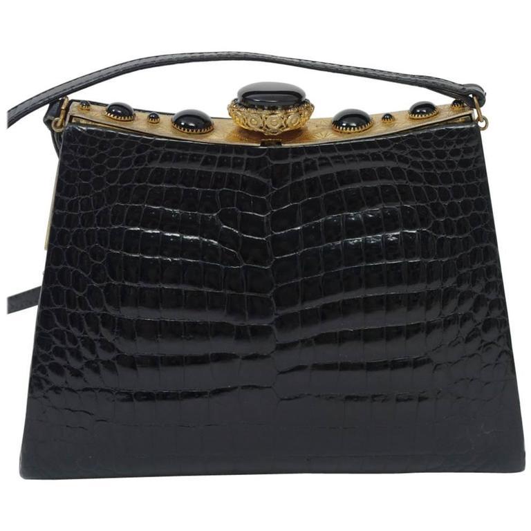 Black Crocodile Shoulder Bag