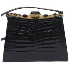 Black Crocodile Shoulder Bag