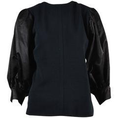 Vintage Givenchy Nouvelle Boutique Satin Puff Sleeve Top