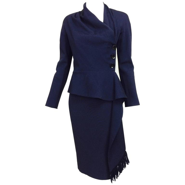 Vintage Christian Dior navy blue fitted suit with scarf side 1990s 1