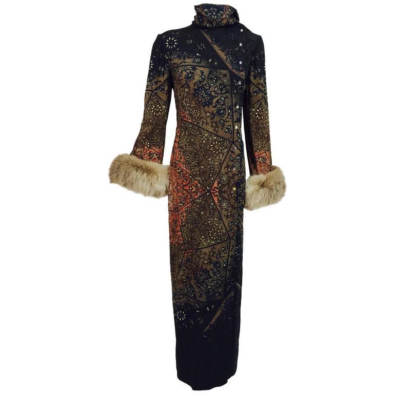 Vintage Pauline Trigere silk jacquard print fur trimmed maxi dress 1960s