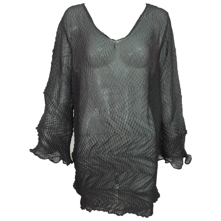 Vintage art to wear sheer shot silk dark copper/green shibori tunic 1990s