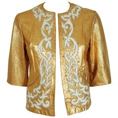1950's Metallic-Gold Leather Rhinestone Embroidered Applique Cropped Jacket