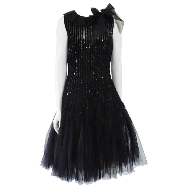 Oscar de la Renta Black Tulle, Velvet & Sequin Evening Dress - 12  1