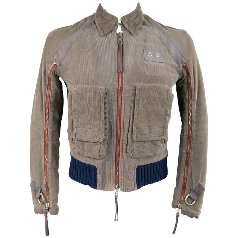 DSquared2 Men's 38 Distressed Taupe Corduroy Cropped Zip Bomber Jacket