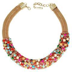 Oscar De la Renta Multi Color Cabochon Collar Necklace