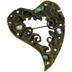Christian Lacroix Vintage Heart Brooch Limited Edition Xmas 1994