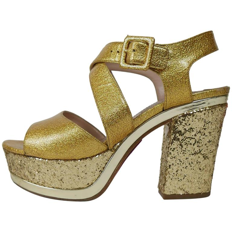 MIU MIU Golden Leather and Glitter Platform Sandals  1
