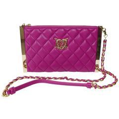 LOVE MOSCHINO Matelasse Leather Clutch Cross Body Shoulder Bag