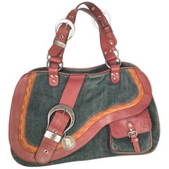 Dior Denim Leather Double Gaucho Saddle Bag, 2009