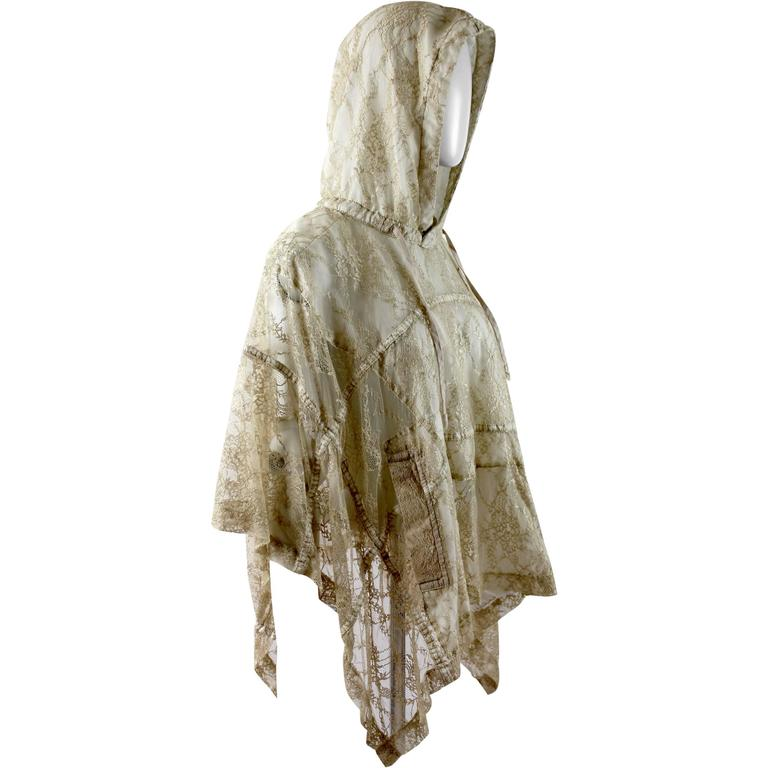 Comme des Garcons AD 2011 Gold Lace Hooded Poncho 1