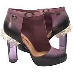 Rare Chanel Runway Boots - Purple and Black - Lucite Heels - Size 38