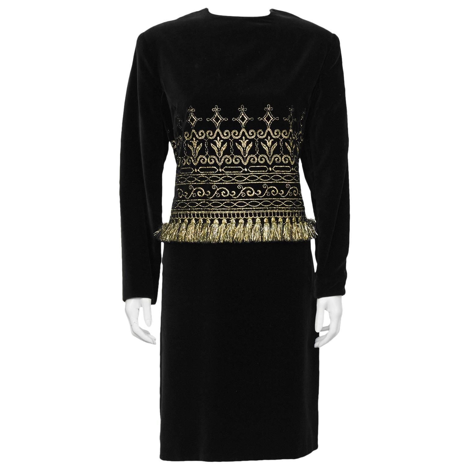 1980's Zandra Rhodes Black Velvet And Gold Fringe Cocktail Dress