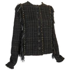 2014 CHANEL Paris-Dallas Leather Tweed Fringe Jacket