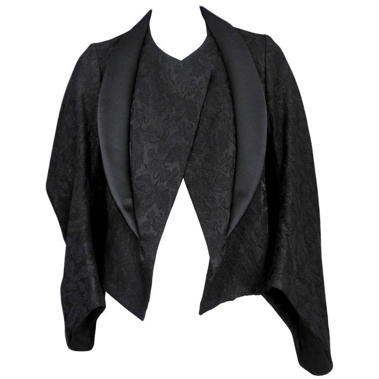 Comme des Garcons Black Brocade Kimono Jacket 2004 For Sale
