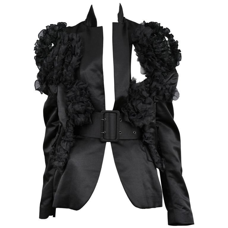 CDG Black Satin Ruffle Blazer 2007 1