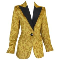 1990's YVES SAINT LAURENT Rive Gauche Brocade Tuxedo Jacket