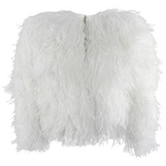 Balmain White Ostrich Feather Evening Jacket / Top