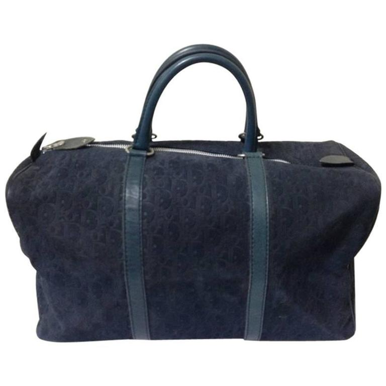 Vintage Christian Dior Bagages navy genuine suede leather travel duffle bag