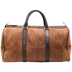 Vintage Christian Dior Bagages genuine brown suede leather travel duffle bag,
