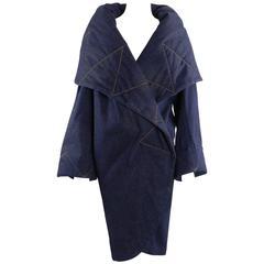 Norma Kamali OMO denim wrap Coat with Large Collar