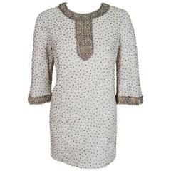 1960's Nettie Milgrim Beaded Rhinestone Ivory Silk-Brocade Mini Cocktail Dress
