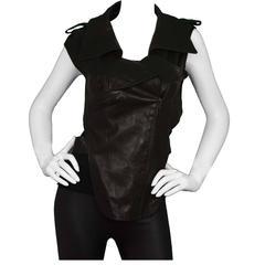Chanel Black Leather Cut-Out Vest Sz 38