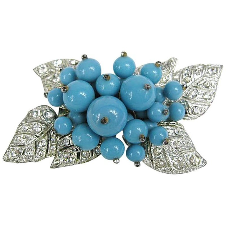 1940s Miriam Haskell Turquoise glass Brooch For Sale