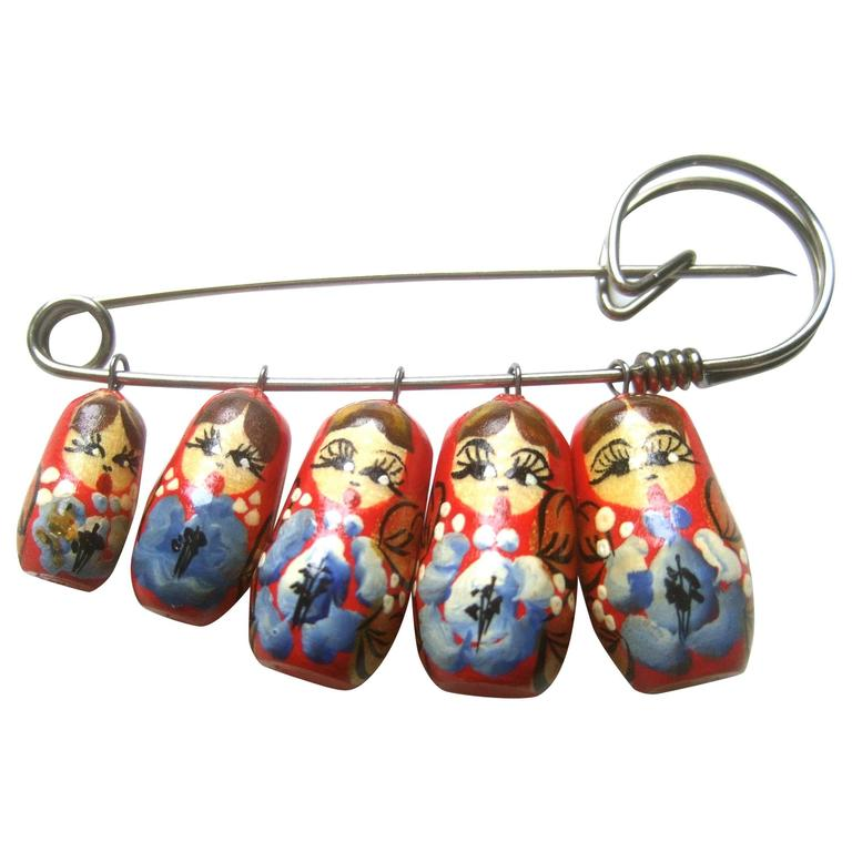 Russian Hand Painted Matryoska Artisan Doll Brooch c 1970 1