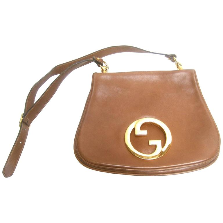 aa9ea402901a50 Gucci Italy Caramel Brown Leather Blondie Shoulder Bag c 1970s For Sale