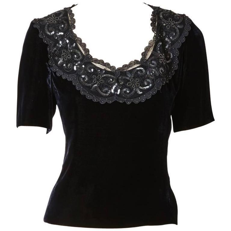 Yves Saint Laurent Couture Velvet Top
