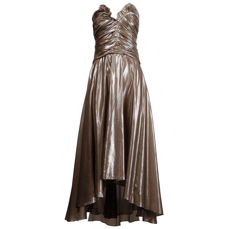 Yves Saint Laurent Strapless Metallic Gunmetal Silk Evening Dress