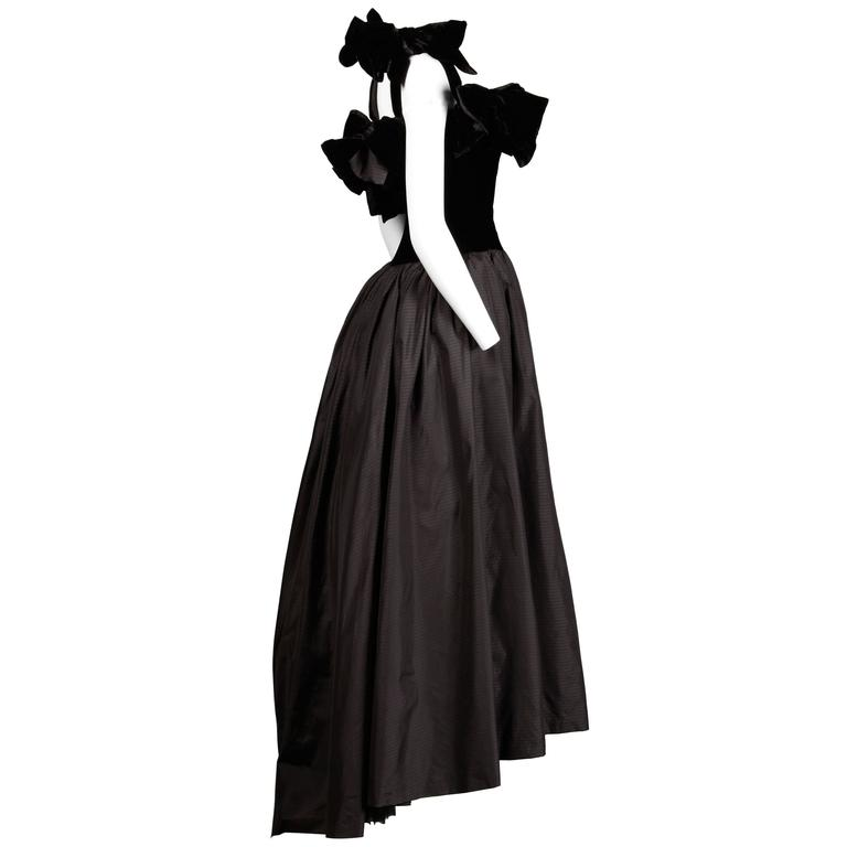 Lanvin Vintage Black Silk Velvet Evening Dress with Bows and Train, 1980s