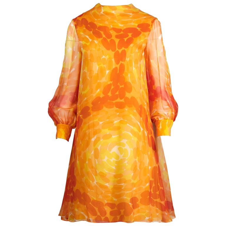 Pab 1960s Vintage Screen Print Silk Chiffon Mod Dress in Yellow and Orange For Sale