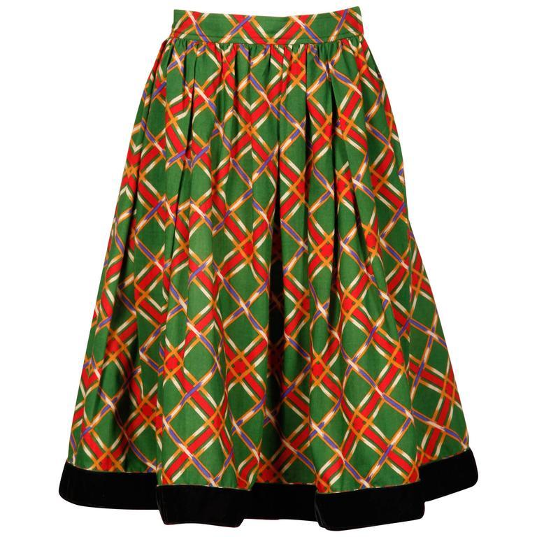 Yves Saint Laurent 1970s Vintage Plaid Wool Midi Skirt
