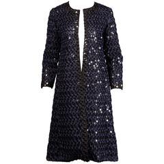 Oscar de la Renta Navy Blue + Black Embellished Sequin Ribbon Coat
