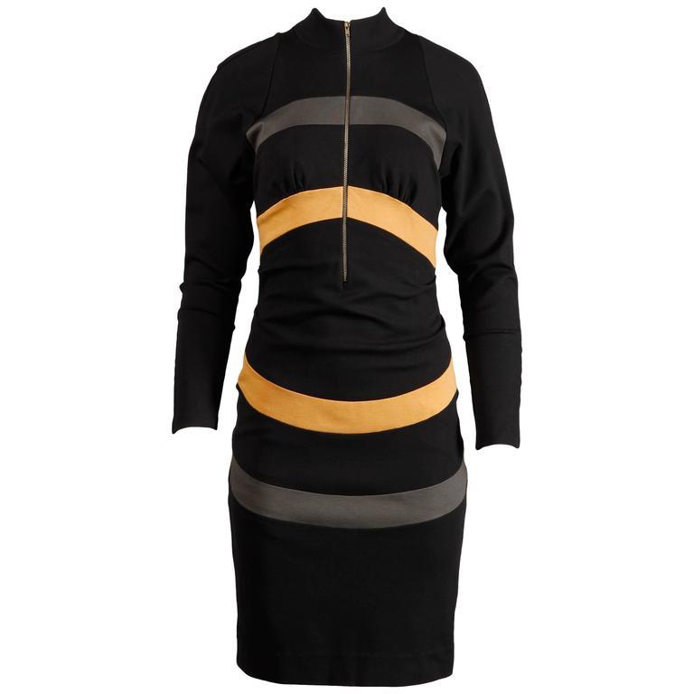 Thierry Mugler Vintage Avant Garde Circular Striped Long Sleeve Dress, 1980s
