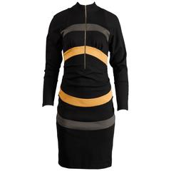 Thierry Mugler Vintage Avant Garde Circular Striped Long Sleeve Dress, 1980s