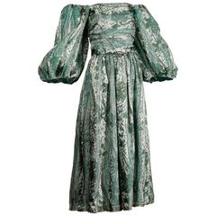 1970s Helga Vintage Metallic Green Silk Off-the-Shoulder Dress