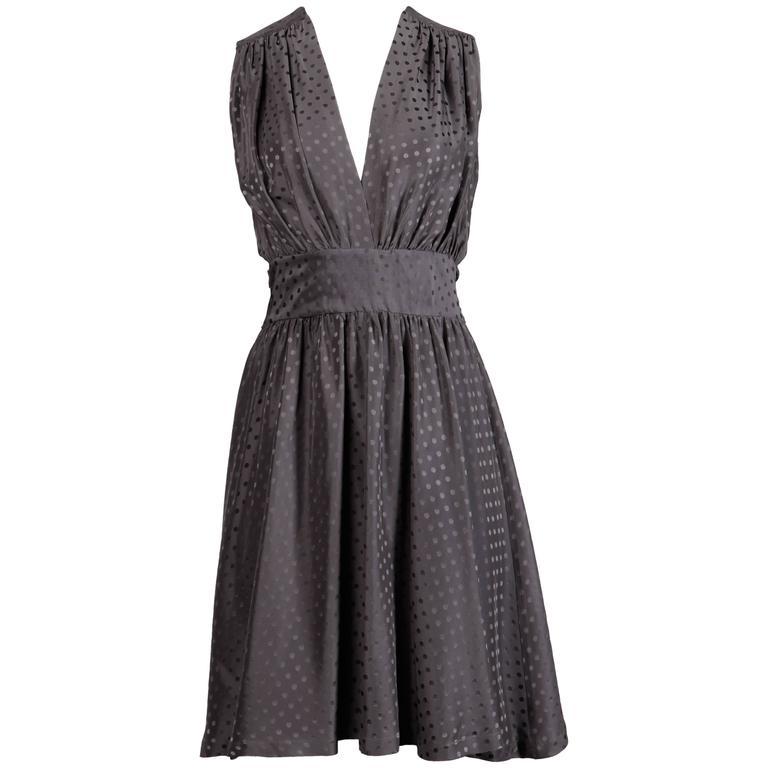 Balenciaga Gray Polka Dot Silk Dress with Deep-V Neckline