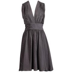 Balenciaga Gray Polka Dot Silk Dress with Deep-V Neckline