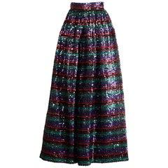 1970s Vintage Striped Metallic Sequin Maxi Skirt