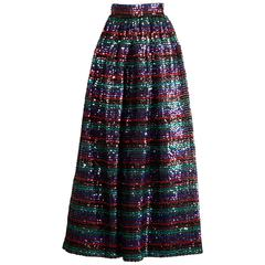 1970s Vintage Striped Metallic Sequin Maxi Skirt