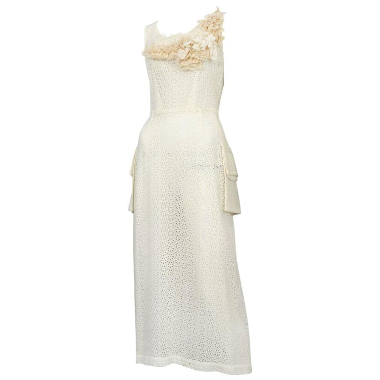 Comme des Garcons Ivory Eyelet Pocket Dress 1999